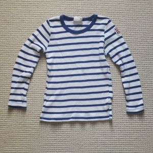 Mini Boden blue and white striped waffle tee 5-6